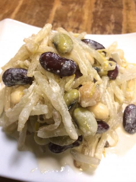 いろいろお豆ともやしのサラダ、豆腐胡麻ドレッシング